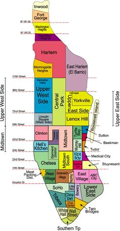 NYC... i love the color areas so easy to see and know where areas are located on manhatten island