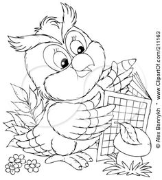 Royalty-Free (RF) Clipart Illustration of a Coloring Page Outline Of A Cute Owl Using An Activity Book by Alex Bannykh