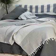 Turkish Cotton Throw Blanket Charcoal - Yummy Linen Linen Sheets, Linen Bedding, King Beds, Queen Beds, Large Throws, Beds Online, Cotton Throws, Double Beds, Quilt Cover