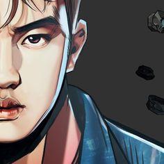 "graphic illustration by Frank Studio from ""The War"" album // Kyungsoo, Kaisoo, Chanyeol, D O Exo, Exo Do, Bts And Exo, Exo Kokobop, Chibi, Exo 2017"