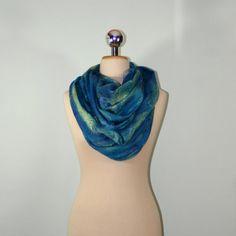 Infinity FELTED SCARF Semitransparent Turquoise Cobweb by Filtil  #blue #scarf #felted #accessories #black #friday #infinity #cobweb #wool #felt #handmade #art #merino #woman #feltedscarf #bluescarf #infinitycobweb #blackfriday #womanaccessories #artscarf #artfelt