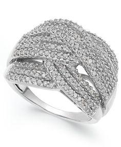 Diamond Wave Ring in 10k White Gold (1 ct. t.w.) | macys.com