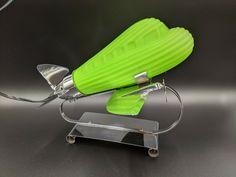 Vintage Art Deco Style Chrome & Frosted Green Desk Lamp | eBay