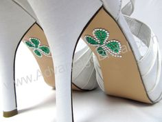 Irish Wedding Shoe Appliques - SHAMROCK - IRISH - CELTIC Rhinestone Shoe Decals for your Wedding Shoes