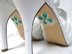 T&F Irish Wedding Shoe Appliques - SHAMROCK - IRISH - CELTIC Rhinestone Shoe Decals for your Wedding Shoes