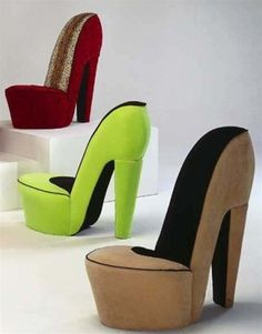 Black & cream shoe high heel stiletto chair with red sole
