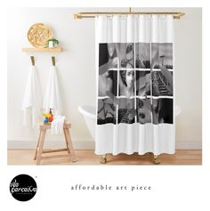 - Fits most standard size tubs and showers  - 12 button holes (shower hooks not included)  - Liner not included - Made from 100% Polyester  - Vivid, full color print on front, white on back  🔹💜 #weperceivestyle #showercurtain #whiteshowercurtain #minimallove #artpiece #collageart #harmony #harmoniccolours #affordable #affordableart #bathroomideas #bathroomdecor #bathroomstyle #futurequote #bathroomstyling #bathtime #bathtimefun #showertime  #designforliving #designlovers #livingproducts