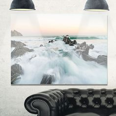 Sunrise at the Bay of Biscay - Modern Beach Glossy Metal Wall Art