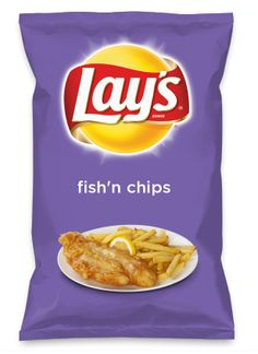 Wouldn't Fish N' Chips be yummy as a chip? Vote for Fish N' Chips! Lays Potato Chip Flavors, Lays Chips Flavors, Lays Potato Chips, Around The World Food, Cod Fish, Snack Recipes, Snacks, Chip Bags, Weird Food