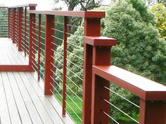 Stainless steel balustrade for timber deck