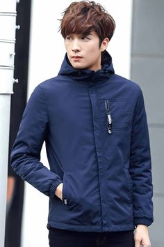 Navy zip hoodie jacket with chest pocket Types Of Jackets, Men's Jackets, Jackets Online, Bomber Jacket Men, Hoodie Jacket, Zip Hoodie, Mens Fashion, Fashion Outfits, Men's Style