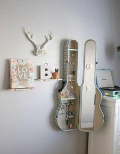 décoration murale créative et fonctionnelle, étagère guitare, tourne-disque vinyle