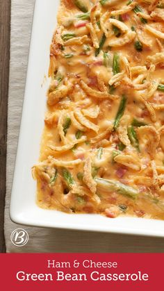 This is no ordinary spin on the classic casserole. Studded with ham and bathed in an indulgent cheese sauce, it's certain to be a show-stealer at every occasion. For an even quicker prep, opt for already cleaned, bagged green beans. Or trim and cut the green beans the day before preparing this recipe, and store beans refrigerated in a resealable food-storage plastic bag.