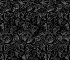 Ghostly Paisley: Heart of Darkness fabric by cateanevski on Spoonflower - custom fabric