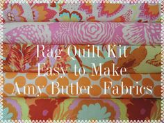 Amy Butler Rag Quilt Kit,  Easy to Make, Personalized, FAST Shipping by beffie48 on Etsy