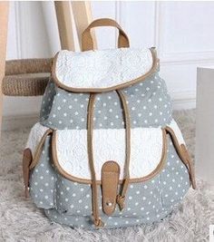 Fresh Pastoral-Style Fashion Polka Dot Print Large-Capacity Drawstring Quality Canvas Backpack 3 Colors