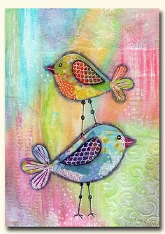 Whimsical Birds Fine Art Giclee Print by MelaniePearsonDesign, £10.00