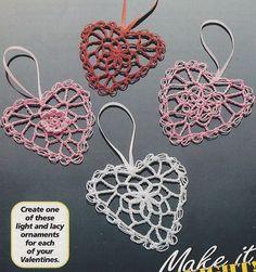 Heart Ornament Crochet Patterns 3 Designs