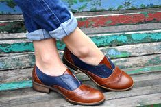 Pershing - Laceless Oxfords, Womens Brogues, , Oxfords for Women, Slip on Shoes, Brown Leather Shoes, FREE customization!!!
