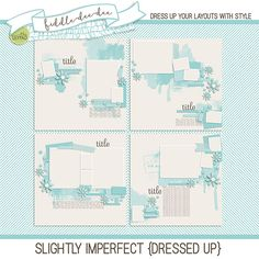 Slightly Imperfect {Dressed Up} templates help you capture your real life, slightly imperfect memories. With messy paint and stamping, and a scattering of elements, your less-than-perfect moments will be right at home!   This personal use/S4H template set includes four (4) layered 12x...