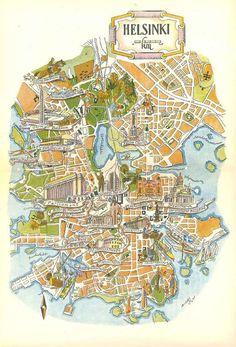 Helsinki City Map Illustration // Jacques Liozu Art /: