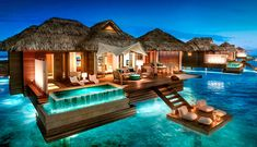 The newest all-inclusive overwater bungalows in the Caribbean are now at private island resort Sandals Montego Bay in Jamaica. Find more of the best all-inclusive overwater bungalow resorts in the Caribbean at Islands. Royal Caribbean, Caribbean Resort, Caribbean Honeymoon, Jamaica Honeymoon, Bora Bora Honeymoon, All Inclusive Honeymoon, Jamaica Vacation, Best All Inclusive Resorts, Honeymoon Suite