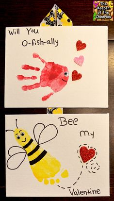 Valentines day Hand and Footprints- will you O-fish-ally Bee my Valentine Daycare Crafts, Toddler Crafts, Baby Crafts, Toddler Valentine Crafts, Valentine's Day Crafts For Kids, Valentines Art For Kids, Preschool Crafts, Daycare Ideas, Ecole Art