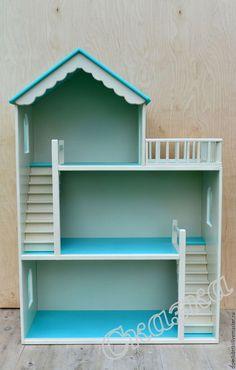 Купить или заказать Кукольный домик в интернет-магазине на Ярмарке Мастеров. Кукольный домик для маленькой принцессы, отправился в г. Омск! Цвет бирюзовый+слоновая кость) Цена домика 8950 руб.