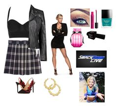 """""""Addie-Interviews Alexa"""" by thefuturemrsambrose ❤ liked on Polyvore featuring Monki, River Island, Charlotte Olympia, NYX, Butter London, Victoria's Secret, WWE, Boohoo and Thalia Sodi"""