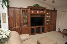 Over the years, we have created some fantastic custom offices and wall beds. Our customers recognize our talents and have asked us to do other products around their house. The most common requests are TV Credenzas and built in custom entertainment centers.