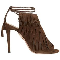 Aquazzura Women's Pocahontas Suede Fringe Sandal ($875) ❤ liked on Polyvore featuring shoes, sandals, brown, braided sandals, ankle strap shoes, brown high heel sandals, woven sandals and braided ankle-wrap sandal