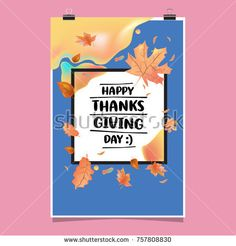 Happy Thanksgiving Vector Illustration with Autumn Leaves Background