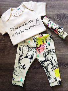 Organic Baby Girl, Onesie®, One Piece, Bodysuit, Leggings, Pants, Headband, Top Knot, Woodland, Floral, Flowers, Boho, Set, Bundle