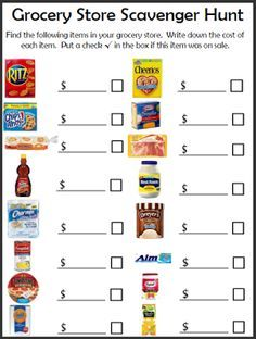Grocery Shopping Scavenger Hunt. Great way to teach children about how much things cost at the store!