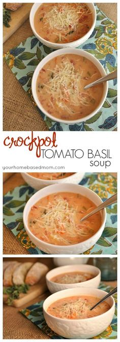 Crock Pot Tomato Basil Soup is delcious and easy to make - the perfect dinner solution (Crockpot Recipes Soup) Crock Pot Slow Cooker, Crock Pot Cooking, Slow Cooker Recipes, Cooking Recipes, Healthy Recipes, Crock Pot Soup Recipes, Healthy Crock Pot Meals, Fall Crockpot Recipes, Cooking Corn