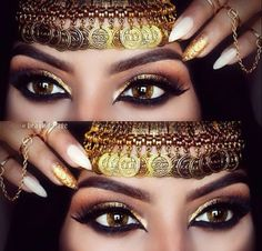 Eye makeup and headdress