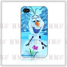 Disney PRINCESS FROZEN OLAF Snow Man for Iphone 4 / 4s / 5 Black White Hard Case
