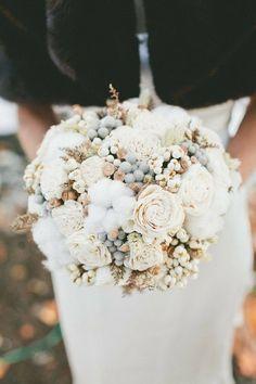Winter bouquet cotton ivory taupe gold grey concrete berries ranunculus