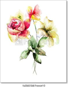 Stylized flowers - Artwork  - Art Print from FreeArt.com
