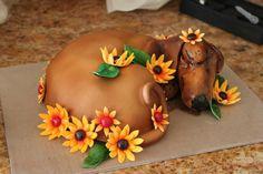 Dachshund Cake by lavandulae on DeviantArt Dachshund Cake, Mini Dachshund, Daschund, Cupcakes, Cupcake Cookies, Beautiful Cakes, Amazing Cakes, Pitbull, Minis
