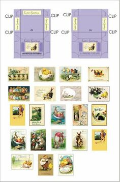 DYI DOLLHOUSE MINIATURES  Easter Cards and card box