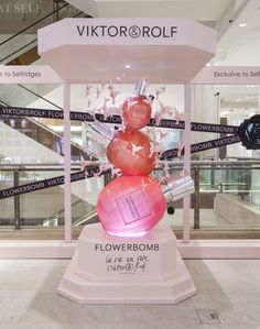 The launch site in Selfridges promoting the new limited edition of Viktor&Rolf's Flowerbomb fragrance, La vie en Rose, celebrating the fragrance's fifth anniversary