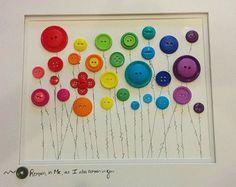 """Button Flowers - 8"""" x 10"""" Wall Art"""