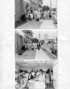 Delmar residents lining up to see the new Library, June 1982.