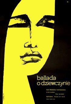 "Polish Movie Poster by Ewa Frysztak, ""Ballada o Dziewczynie"" directed by… Graphic Design Brochure, Graphic Design Posters, Graphic Art, Polish Movie Posters, Film Posters, Retro Illustration, Graphic Design Illustration, Exhibition Poster, Grafik Design"