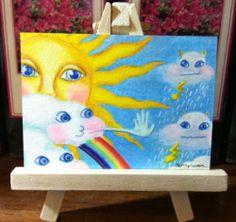 Original ACEO Nfac Cloud Whimsical Wind Sun Rain Rainbow by Jenny Luan | eBay