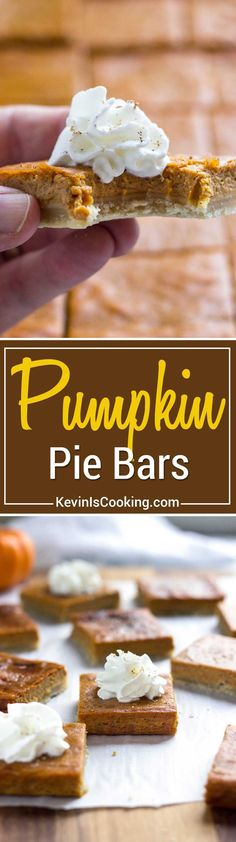 Slab pies come with all the goodness of a slice of pie, but in bar form. These Pumpkin Pie Bars are made right in the sheet pan and easily cut up for a hand held dessert bite. No washing plates and forks! Fall Desserts, Cookie Desserts, No Bake Desserts, Just Desserts, Cookie Recipes, Delicious Desserts, Dessert Recipes, Yummy Food, Pumpkin Recipes