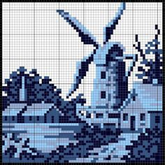Dutch blue cross stitch tile patterns including windmill, tower, sailboat, farm and pattern repeats