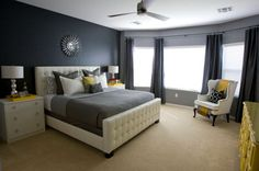 Grey And Yellow Bedroom Ideas | White and gray in the bedroom with hints of yellow is both soothing ...