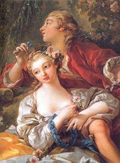 Lovers in a Park& (detail), Francois Boucher,  1703-1770